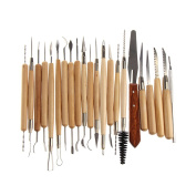 Vktech 22pcs Stainless Steel and Wooden Handle Clay & Pottery Sculpture Tool