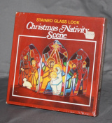 Vintage Christmas Nativity Scene Stained Glass Look Kit Featuring Jesus, Mary, Joseph and other characters from the Christmas story
