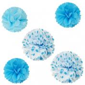 Wrapables Pom Poms Tissue, Blue, Set of 5