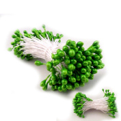 The Crafts Outlet Bundle of 144 Double End Pearl Stamens for Scrapbooking, 5.1cm , Lime Green