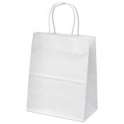 "20cm x 12cm x 10"" - 100 Pcs - White Kraft Paper Bags, Shopping, Mechandise, Party, Gift Bags"