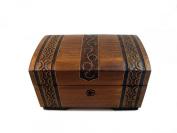 Banded Handmade Wooden Oak Finish Treasure Chest Jewellery Keepsake Box With Lock and Key Pirate Trunk