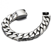 Top Quality 17MM Wide Stainless Steel Men's Flat Curb Chain Bracelet Silver Colour High Polished