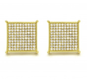 Mens 18mm 14k Gold Plated Cz Micro Pave Iced Out Square Stud Earrings Screw Backs