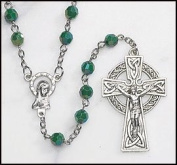 Green Irish Rosary with Celtic Cross. Material