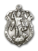Large Detailed Men's Genuine Pewter Saint St. Michael the Archangel Medal Pendant 3.2cm x 2.2cm Police Law Officers/EMTs-5452- Comes with a Stainless Silver Heavy Curb Chain Neckace And a Black velvet Box