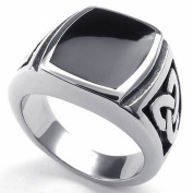 KONOV Jewellery Mens Stainless Steel Ring, Celtic Knot Signet, Black Silver