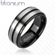 Solid Titanium Brushed Double Stripe Centre Higly Polished Edge Band Ring; 8mm Width; Comes with Free Gift Box