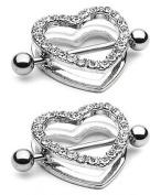 2pcs Clear Gem Paved Heart Nipple Shield Ring 14GA 2.2cm Length