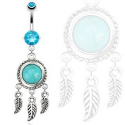 SBJ-0046 Dream Catcher with Turquoise Semi Precious Stone and Leaves Dangle Navel Ring