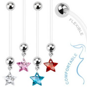 """CLEAR CRYSTAL Star Dangle Pregnancy Maternity Flexible Belly Button Naval Retainer Ring. UV, Nickel and Allergy Free - 14G - 1"""" long - 5mm Ball"""