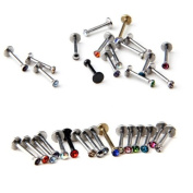 Lot of 16 Assorted Gems Labret Lip Bar Chin Lip Rings Piercing 1.2mm Surgical Steel 16 Guage Body Jewellery