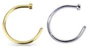 2pcs 20g Gold & Silver Plated Nose Ring Piercing Hoop 20 Gauge 0.8cm