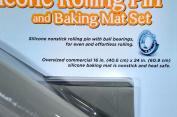 Sil-pin Silicone Rolling Pin and Matching Baking Mat Set