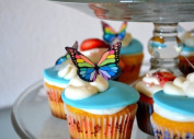 Edible Butterflies © - Small Rainbow Monarchs Set of 24 - Cake and Cupcake Toppers, Decoration