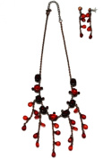 Red Ruby Costume Necklace & Matching Earrings