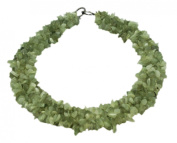 Wide Light Green Stone Bead Necklace