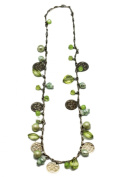 Silver & Green Bead Belly Dancer Necklace