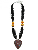 Multi-String Bead Necklace With Silver Aztec Heart Pendant