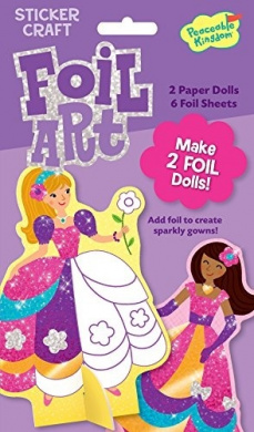 Peaceable Kingdom / Foil Art Fancy Gown Stand-up Dolls Sticker Craft Pack
