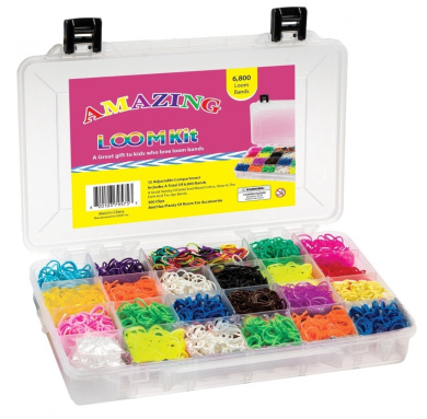 Amazing Loom Bands Complete Collection Organiser Storage Kit, Includes 6,800 Bands +300 Clips a Variety of 12 Beautiful Colours - Including Tie-dye and Glow in Dark Ruber Bands. Twistz Bandz Rainbow Loom Bracelet Rubber Band Kit)
