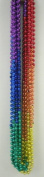 33 inch 7mm Round Metallic Rainbow 6 Section Mardi Gras Beads - 6 Dozen
