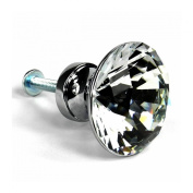 Foxnovo 5pcs 30mm Diamond Shaped Clear Crystal Glass Door Knobs Kitchen Cupboard Cabinet Drawer Pull Handles