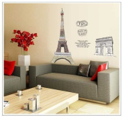 Free Will France Tower of Eiffel and Triumphal Arch Love Poem Repositionable Mural for Bedroom Wall Decor Fashion Stickers