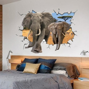 3D Vivid Wall Stick Wall Decals Tiger Runs Out off the Wall