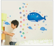 Good Life Dolphin Listen Music Bubbles Removable DIY Wall Decal Sticker Decor