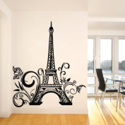 Tall Eiffel Tower Wall Decal Huge Paris City Sticker Decor Wall Sayings Decal Vinyl Wall Art Words Lettering Quotes Mural Art Room Home- Size 60cm X 110cm