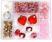 Linpeng Bead Box, Heart Red/Pink Glass