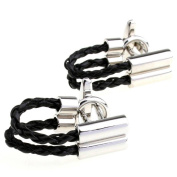 Men's black and brown leather chain cufflinks cuff nail xk156175