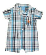 US Polo Assn Infant Boys S/S White, Turquoise & Navy Blue Shortall