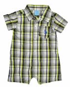 US Polo Assn Infant Boys Plaid White, Lime & Black Shortall