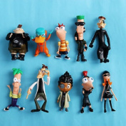 Phineas And Ferb Action Figurine Playset Perry Toy Doll New 10pcs