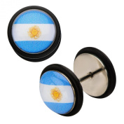 Inox World Cup Argentina Stainless Steel Fake Plug Earrings