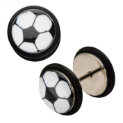 Inox World Cup Soccer Ball Logo Stainless Steel Fake Plug Earrings