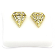 Mens 14k Gold Plated Cz Micro Pave Iced Out Hip Hop Diamond Stud Earrings Bullet Backs
