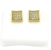 Mens 14k Gold Plated Cz Micro Pave Iced Out Hip Hop Square Kite Stud Earrings Bullet Backs