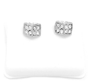 Mens Platinum Plated Cz Micro Pave Iced Out Hip Hop Dice Stud Earrings Bullet Backs