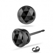 0.11-0.13 Cts AAA Round Rose Cut Black Diamond Mens Stud Earring in 14K Blackened White Gold