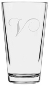 Chopin Script Etched Monogram All Purpose 470ml Libbey Pint Glass