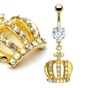 Gold Crown Belly Ring - Prong Set Gold Plated Gem Paved Crossed Crown Dangle 14G & 1cm Length