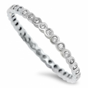 Sterling Silver Clear Crystal Eternity Midi Toe Ring