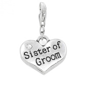 """Clip on """"Sister of Groom"""" Two Sided Heart W/crystal Charm Pendant for European Jewellery w/ Lobster Clasp"""
