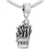 """Dangle Fries Antique Silver """"Fries"""" Carved Charm Pendant for European Snake Chain Bracelets"""