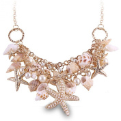 Zlyc Women's Summer Hot Chunky Sea Shell Starfish Faux Pearl Statement Necklace