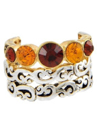 Filigree 3-Piece Stackable Stretch Ring with Brown Rhinestone in Two-Tone