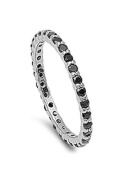 Sterling Silver Classy Stackable Ring with Black Simulated Crystals on Half-Bezel Setting with Rhodium Finish, Band Width 2MM - Crazy2Shop